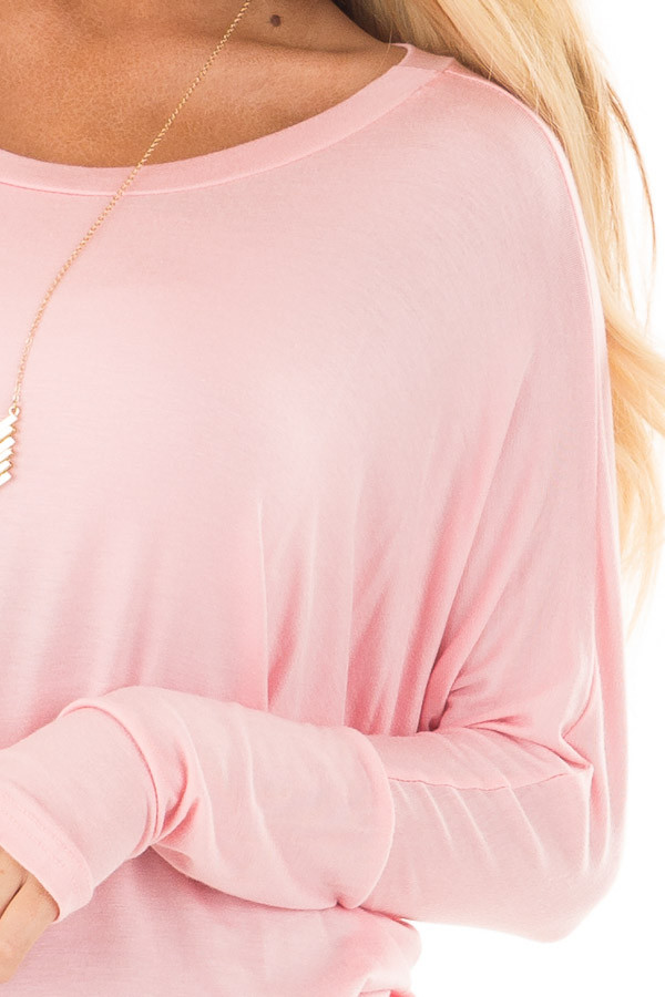 Light Pink Boatneck Top with Dolman Sleeves front detail