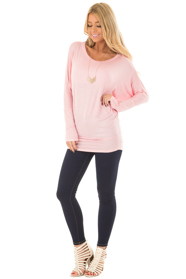 Light Pink Boatneck Top with Dolman Sleeves front full body