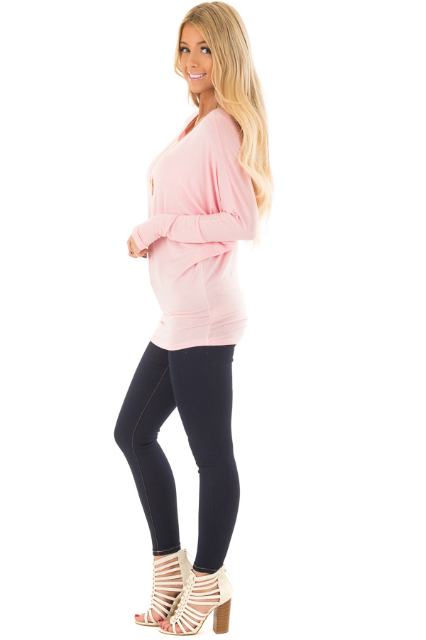Light Pink Boatneck Top with Dolman Sleeves side full body