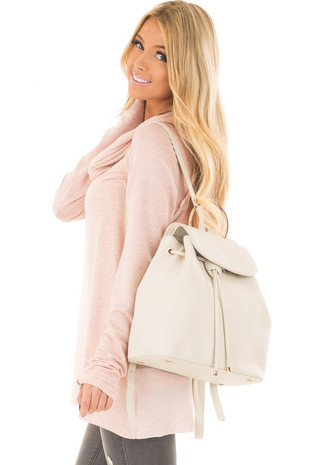 Light Beige Backpack with Gold Handle and Details side closeup