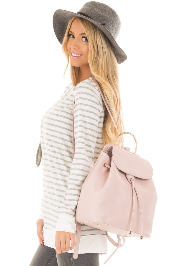 Blush Backpack with Gold Handle and Details side closeup