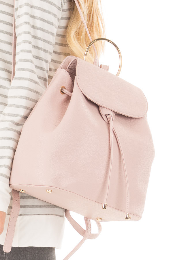 Blush Backpack with Gold Handle and Details side detail
