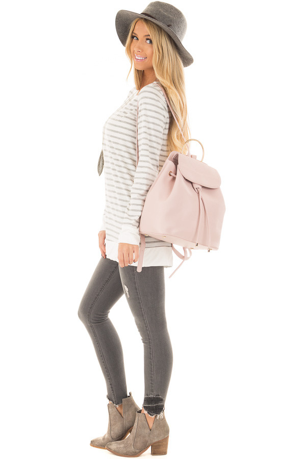 Blush Backpack with Gold Handle and Details side full body