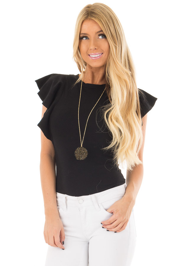 Black Bodysuit with Ruffled Shoulders front closeup