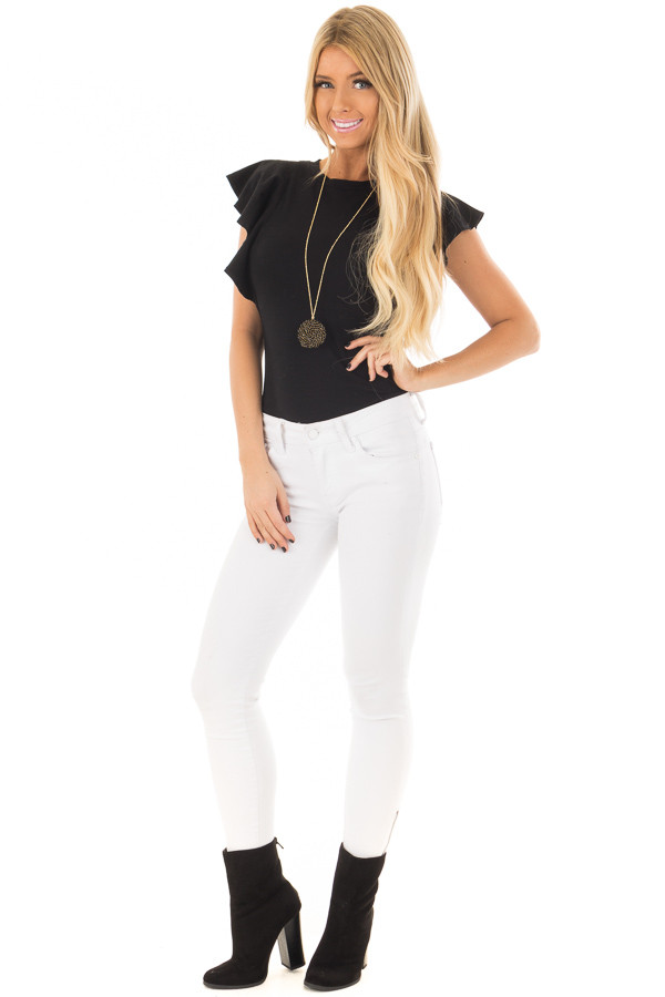 Black Bodysuit with Ruffled Shoulders front full body
