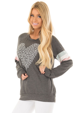 Charcoal 'XOXO' Top with Stripes on Sleeves front closeup