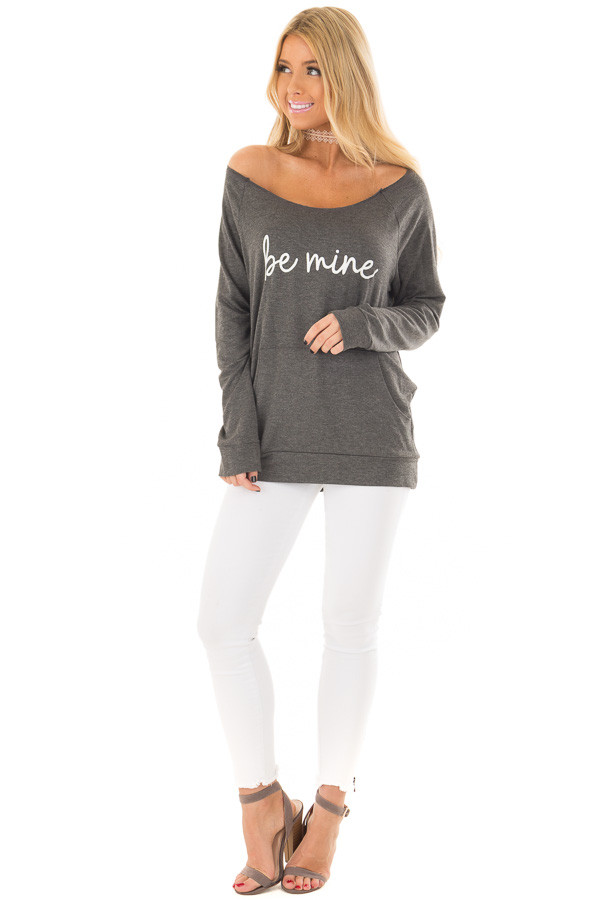 Charcoal 'Be Mine' Off the Shoulder Top front full body