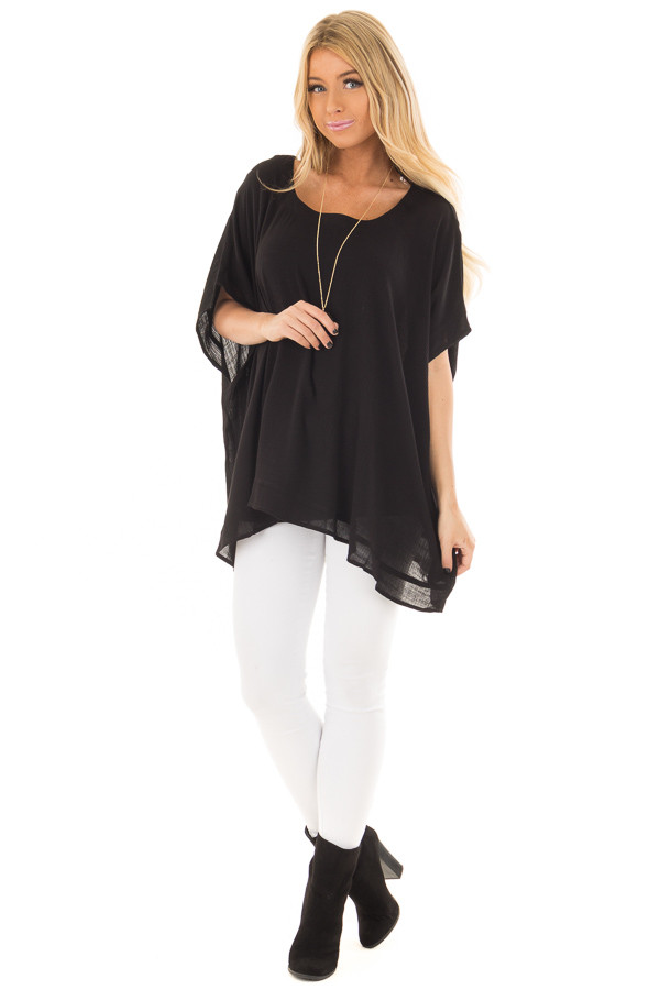 Black Oversized Short Sleeve Top front full body