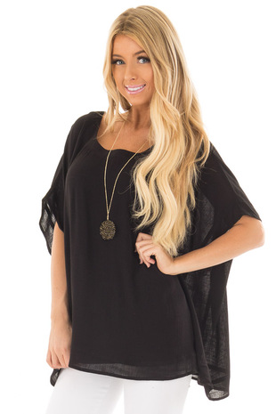 Black Oversized Short Sleeve Top front closeup