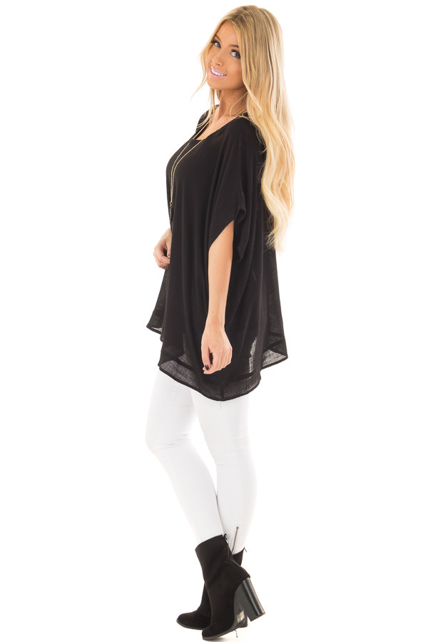Black Oversized Short Sleeve Top side full body