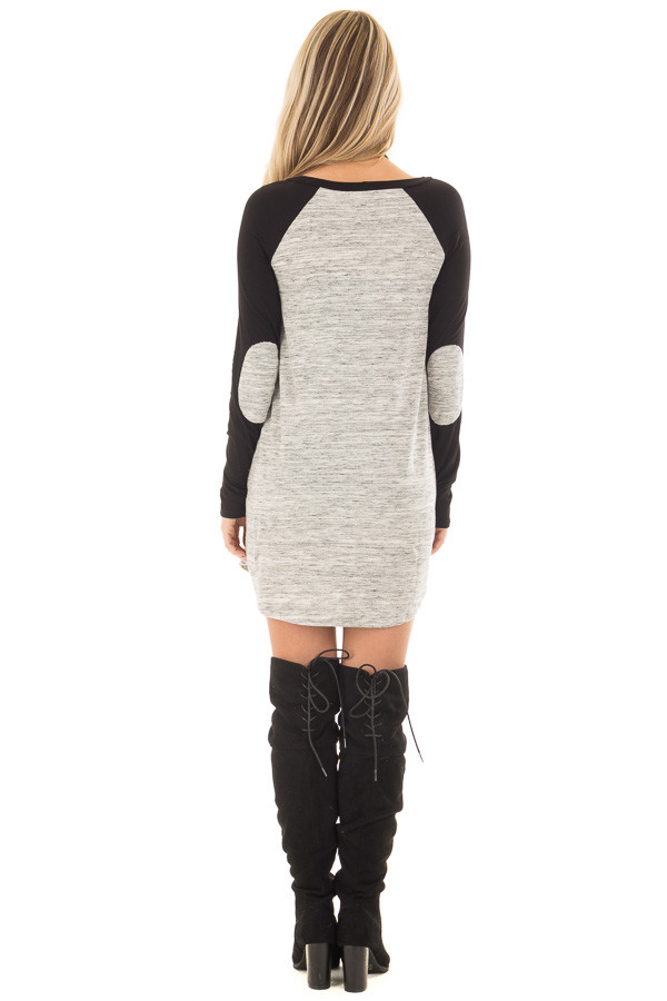 Heather Grey Tunic with Black Contrast and Elbow Patches back full body