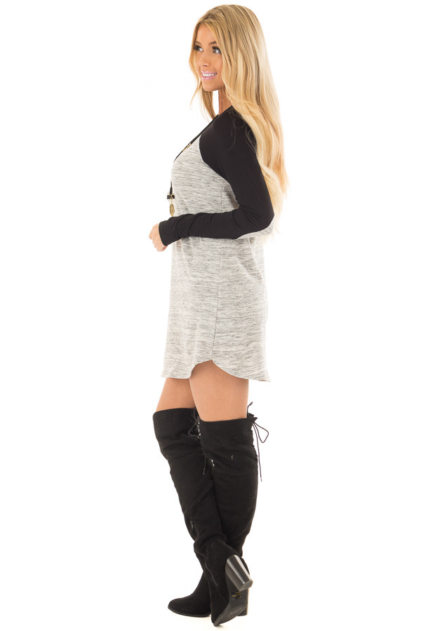 Heather Grey Tunic with Black Contrast and Elbow Patches side full body