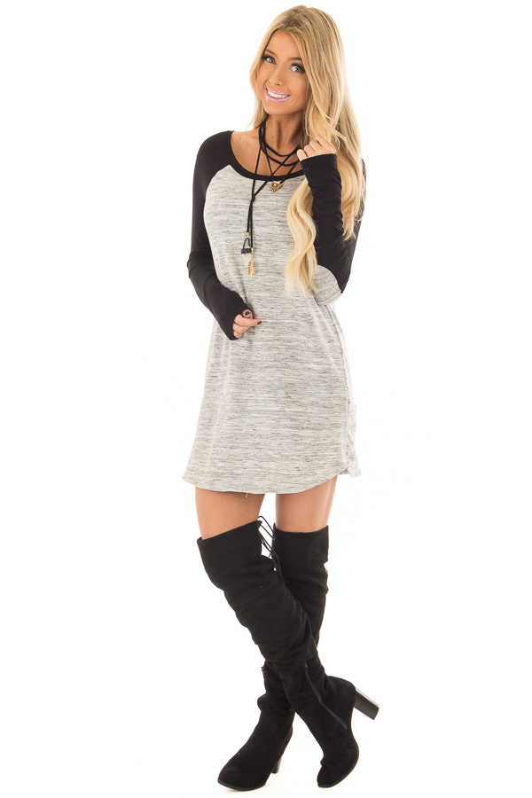 Heather Grey Tunic with Black Contrast and Elbow Patches front full body