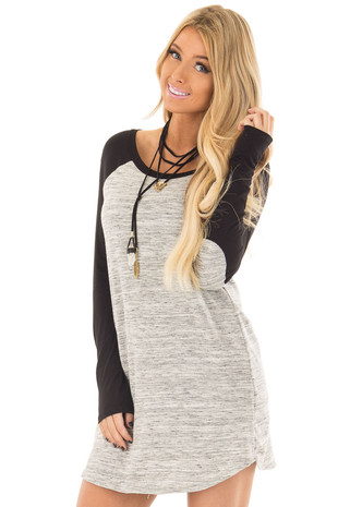 Heather Grey Tunic with Black Contrast and Elbow Patches front closeup