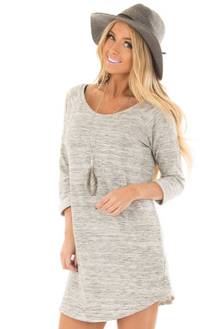 Heather Grey Two Tone 3/4 Sleeve Tunic front closeup
