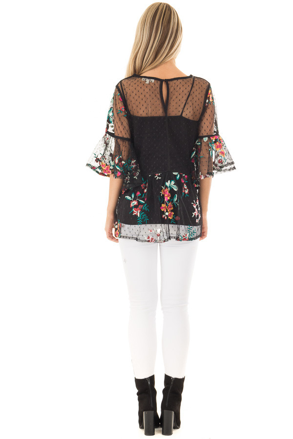 Black Sheer Lace Floral Print Top with Ruffle Detail back full body