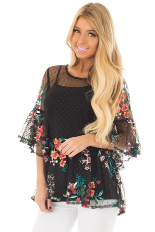 Black Sheer Lace Floral Print Top with Ruffle Detail front closeup