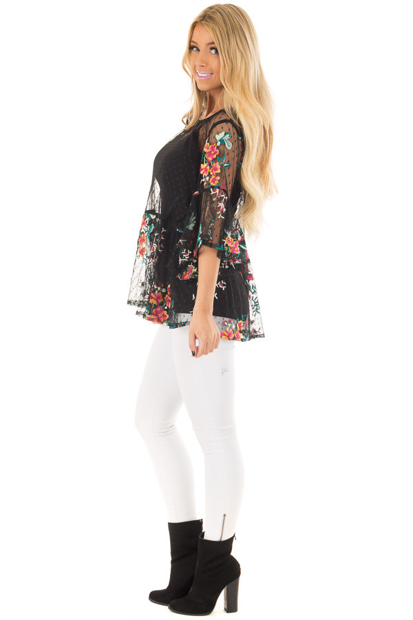 Black Sheer Lace Floral Print Top with Ruffle Detail side full body
