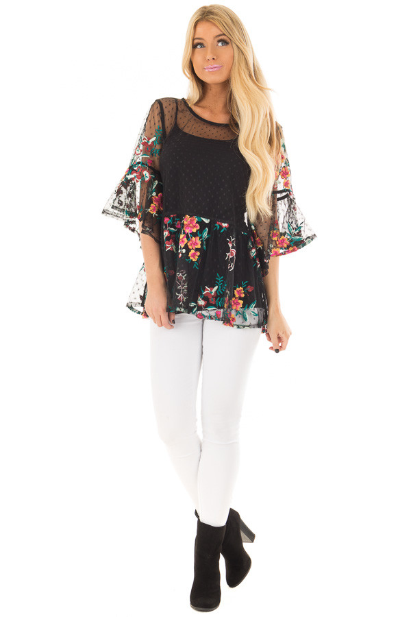 Black Sheer Lace Floral Print Top with Ruffle Detail front full body