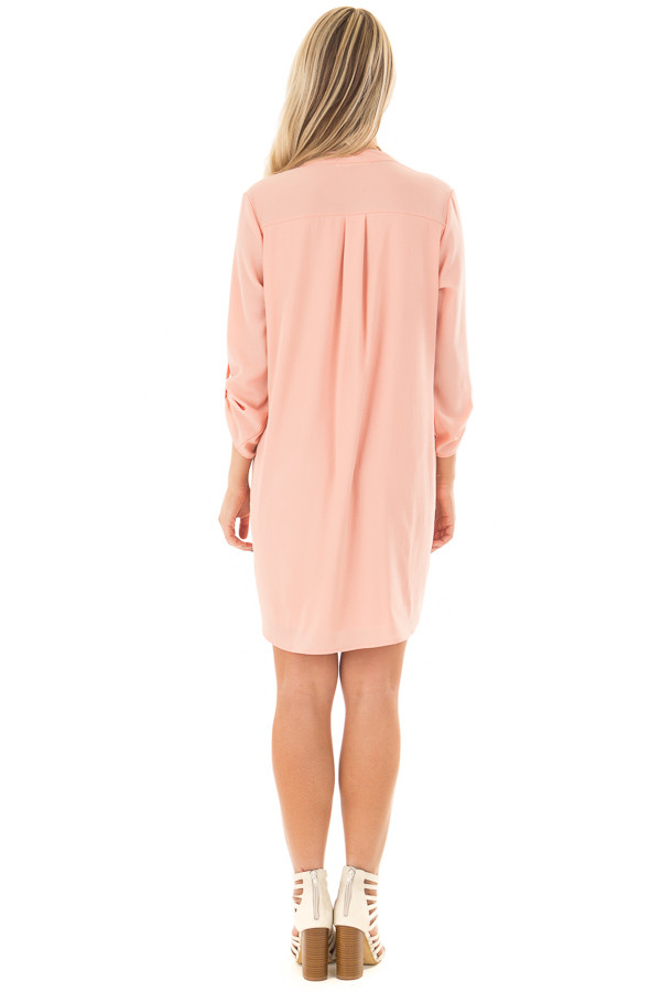 Peach V Neck Dress with Roll Up Sleeves back full body