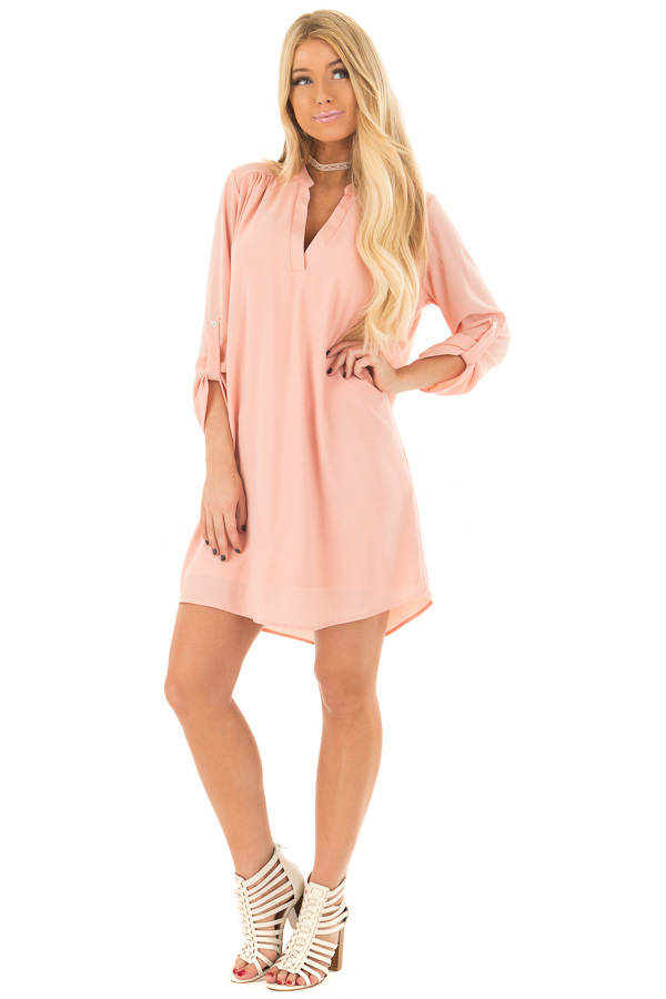 Peach V Neck Dress with Roll Up Sleeves front full body