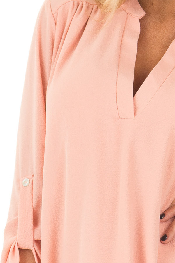 Peach V Neck Dress with Roll Up Sleeves front detail