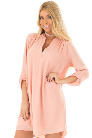 Peach V Neck Dress with Roll Up Sleeves front closeup
