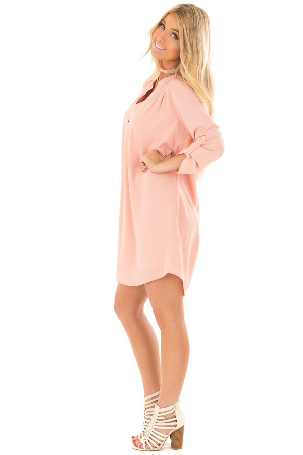 Peach V Neck Dress with Roll Up Sleeves side full body
