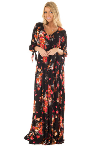 Black Floral Print Surplice Maxi Dress with Waist Tie front closeup