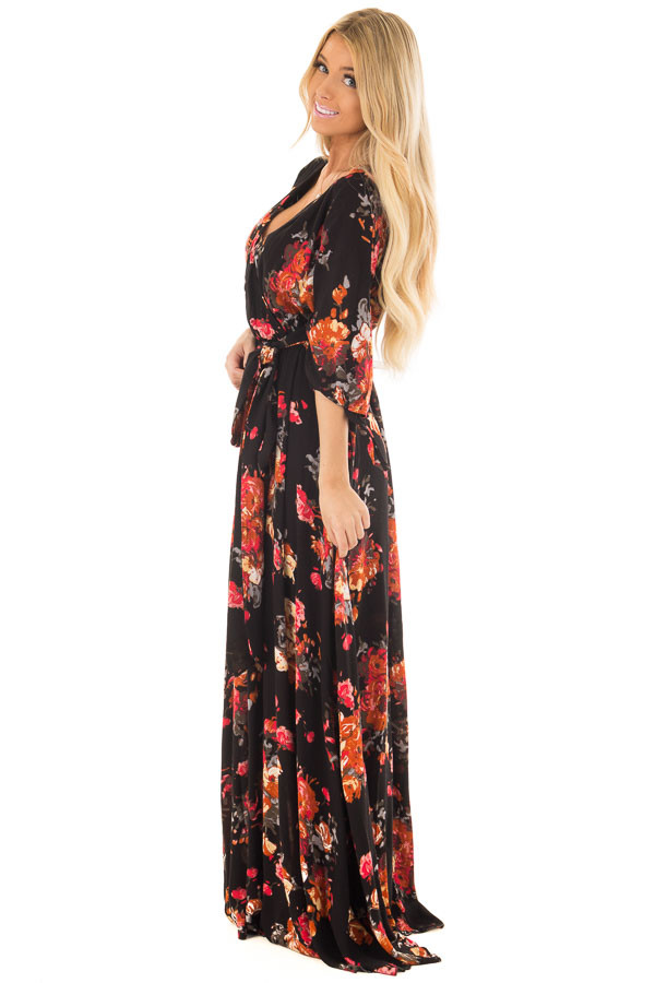 Black Floral Print Surplice Maxi Dress with Waist Tie side full body