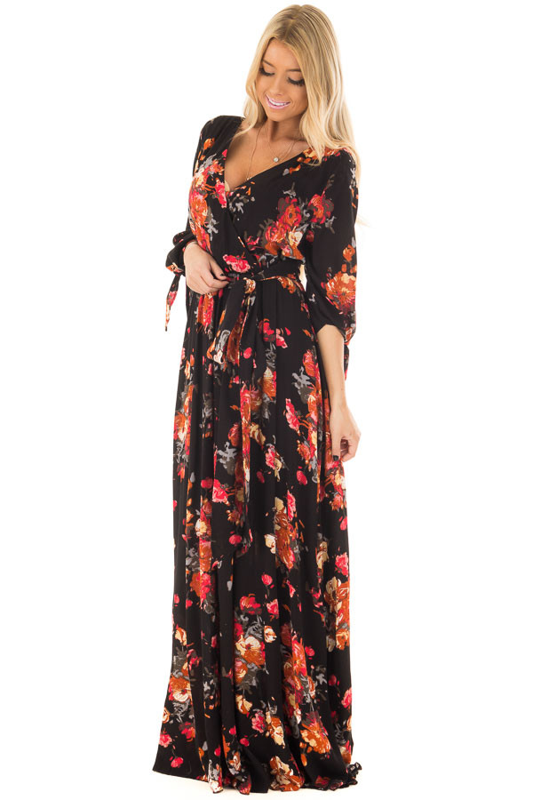 Black Floral Print Surplice Maxi Dress with Waist Tie front full body
