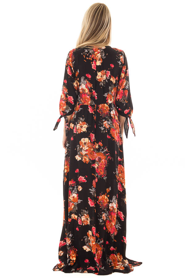 Black Floral Print Surplice Maxi Dress with Waist Tie back full body