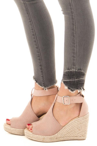 Dusty Mauve Faux Suede Peep Toe Braided Wedge side