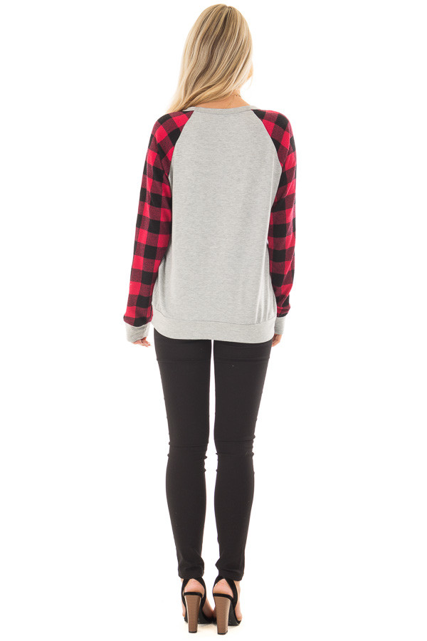 Heather Grey 'Love' Top with Lipstick Red Plaid Contrast back full body