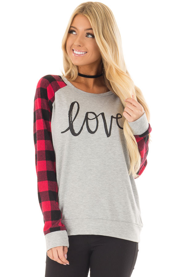 Heather Grey 'Love' Top with Lipstick Red Plaid Contrast front closeup