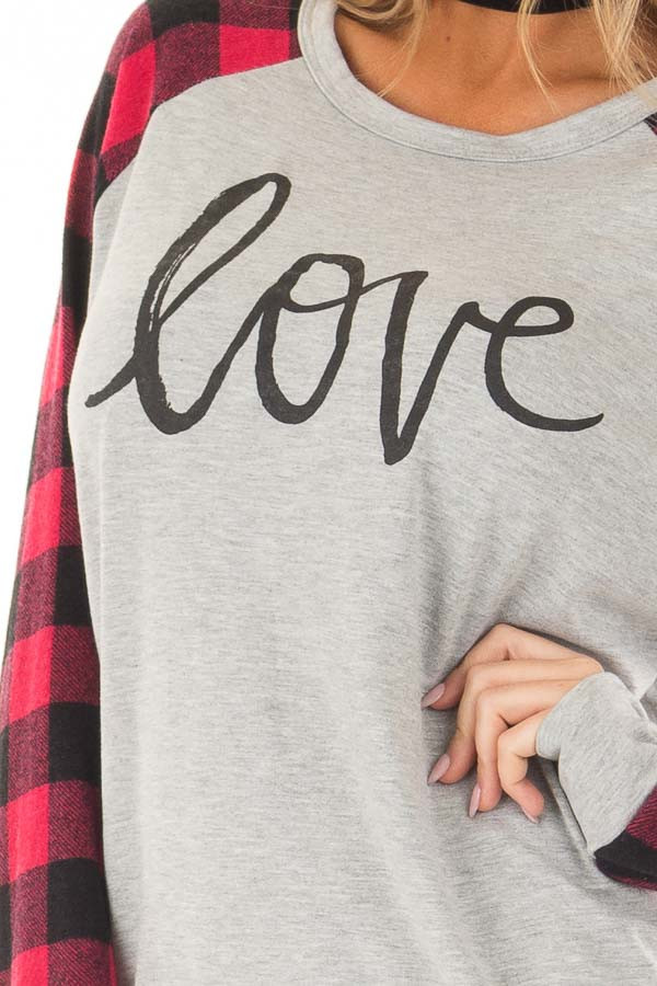 Heather Grey 'Love' Top with Lipstick Red Plaid Contrast front detail