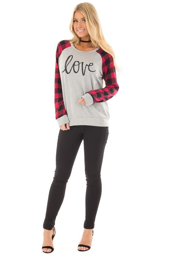 Heather Grey 'Love' Top with Lipstick Red Plaid Contrast front full body