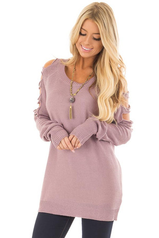 Lavender Long Ladder Sleeve Sweater front closeup