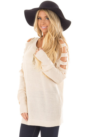 Cream Long Ladder Sleeve Sweater front closeup