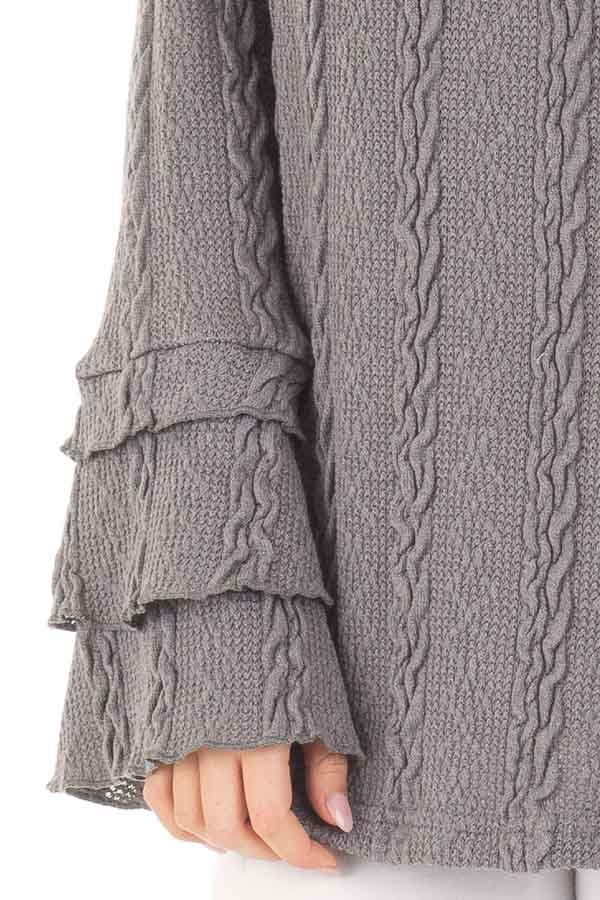 Charcoal Long Tier Bell Sleeve Cable Knit Sweater detail