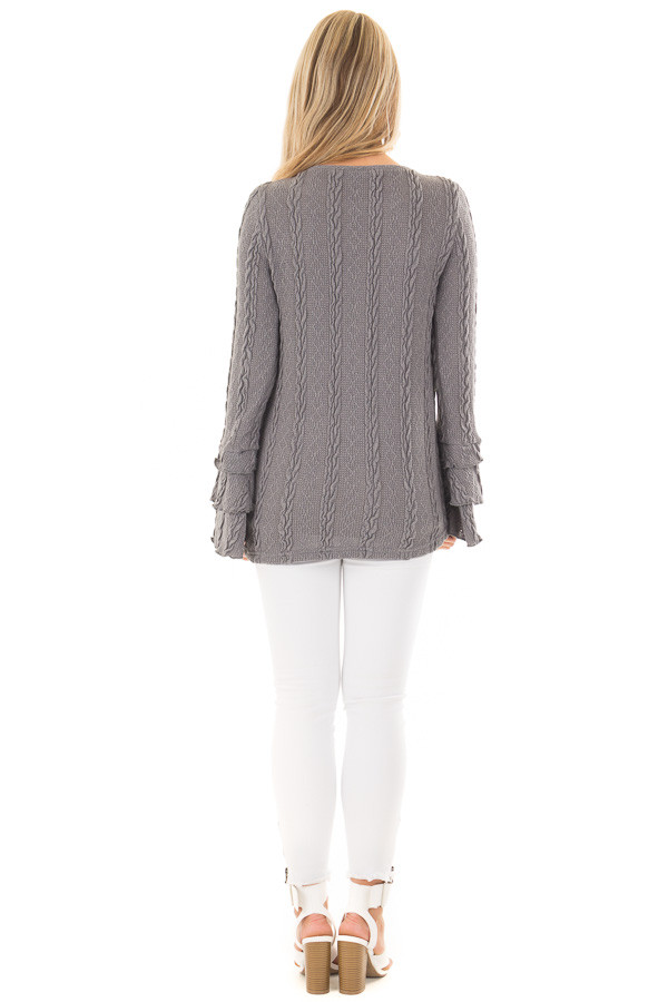 Charcoal Long Tier Bell Sleeve Cable Knit Sweater back full body