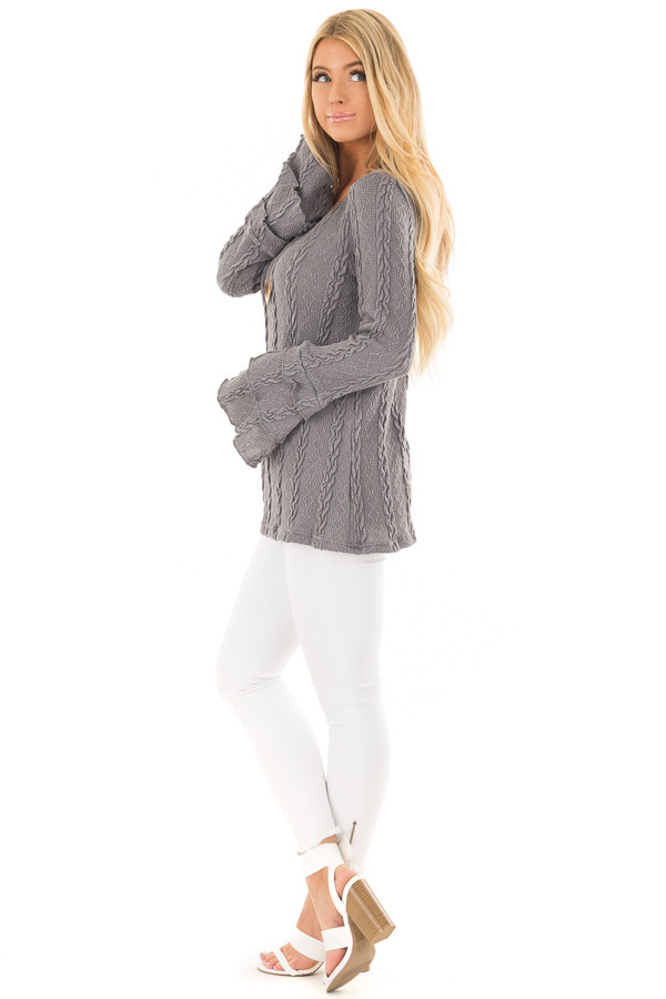 Charcoal Long Tier Bell Sleeve Cable Knit Sweater side full body
