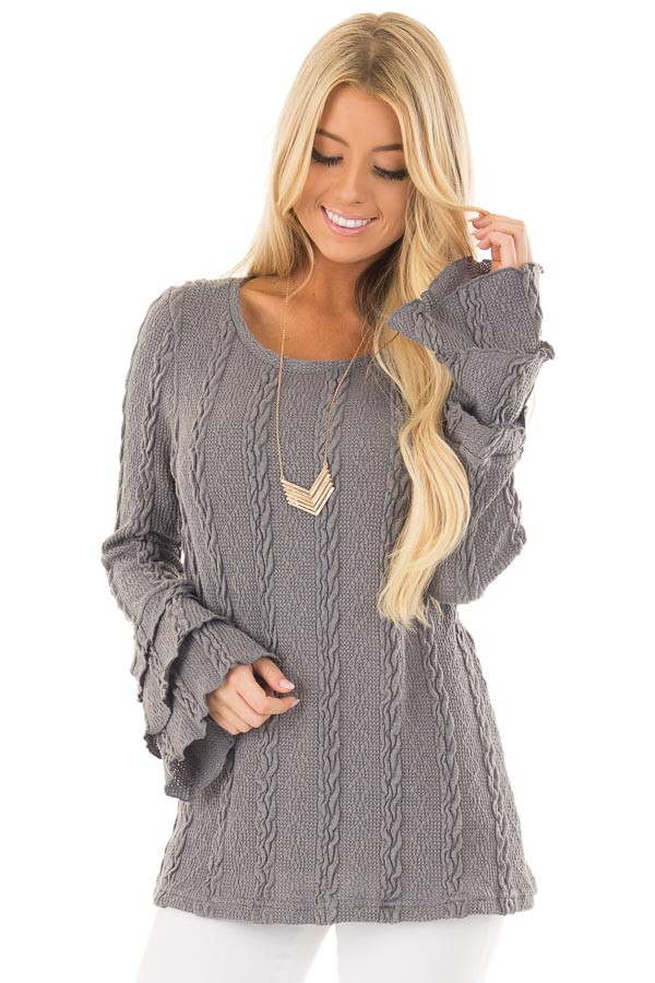Charcoal Long Tier Bell Sleeve Cable Knit Sweater front close up