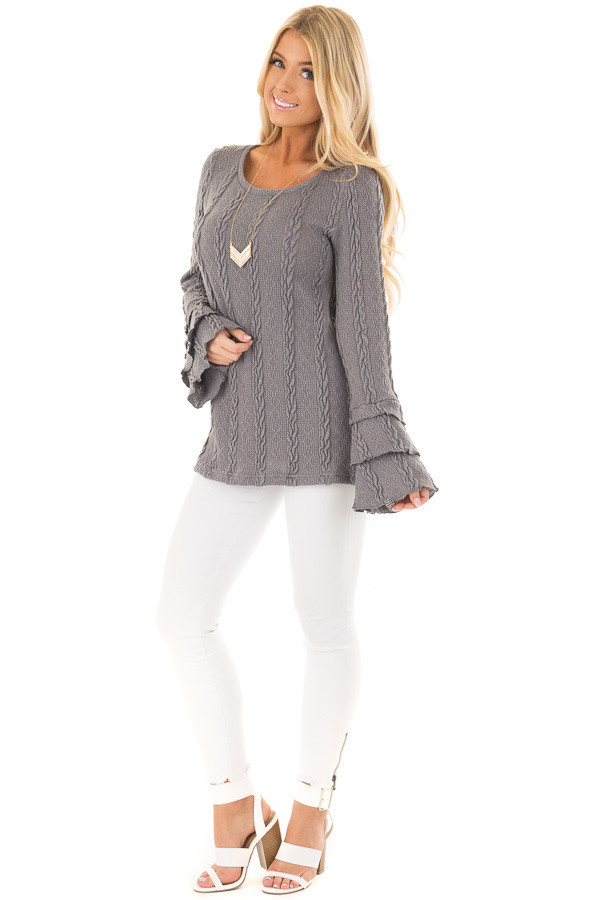 Charcoal Long Tier Bell Sleeve Cable Knit Sweater front full body