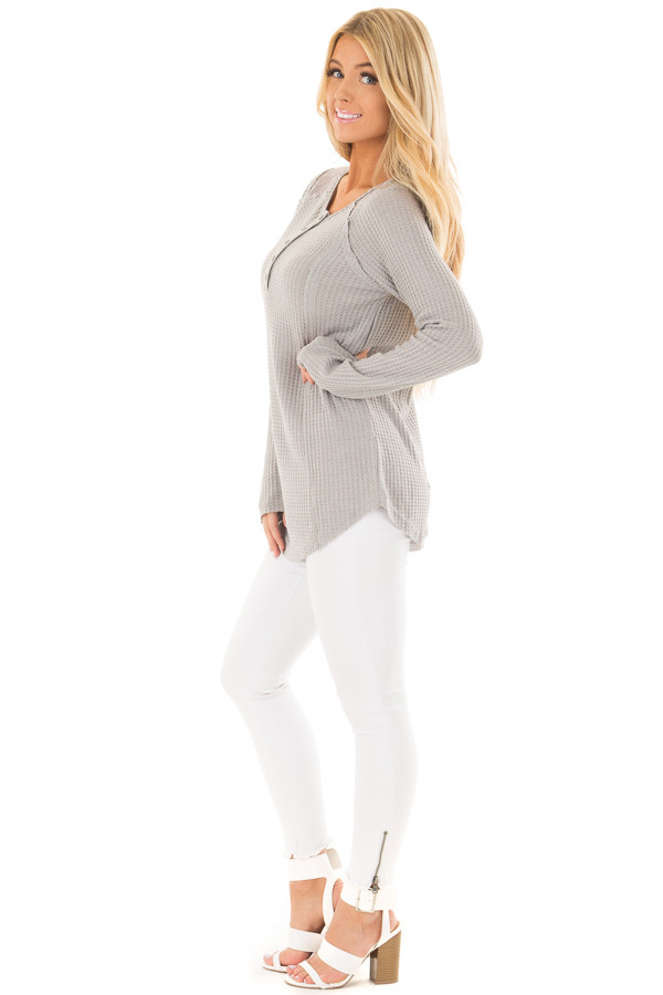 Cement Waffle Knit Top with Sheer Lace Contrast side full body