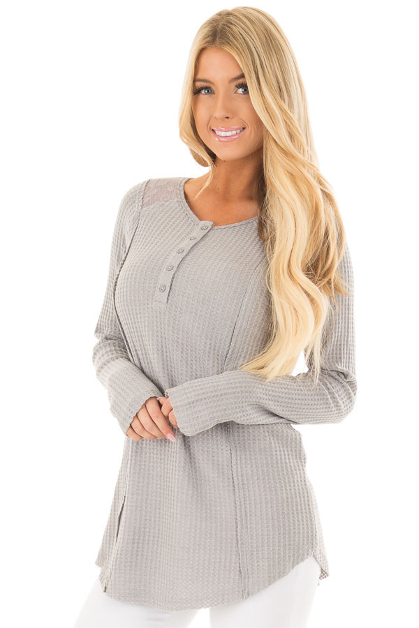 Cement Waffle Knit Top with Sheer Lace Contrast front close up