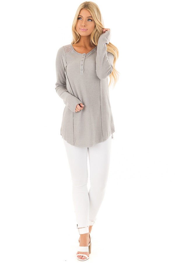 Cement Waffle Knit Top with Sheer Lace Contrast front full body
