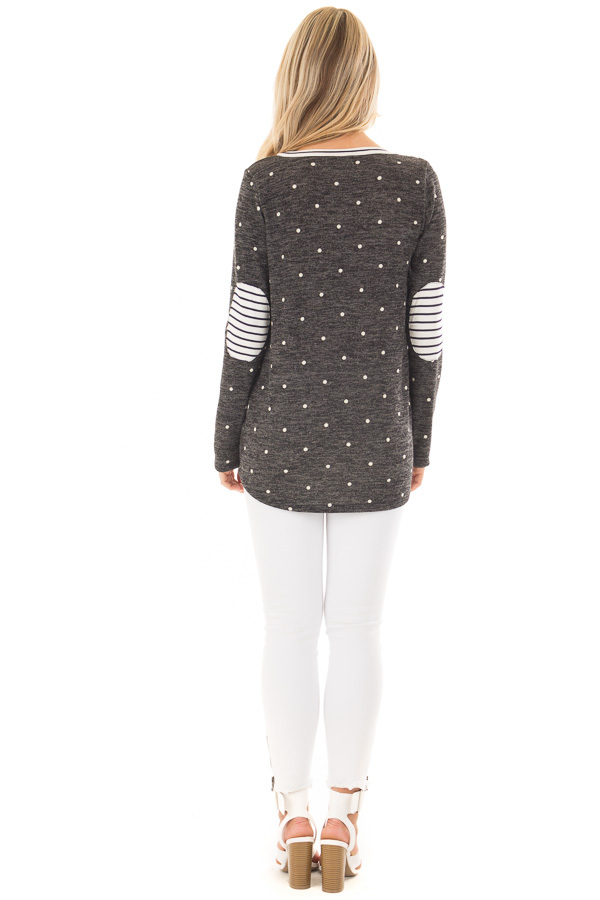 Charcoal and Ivory Polka Dot Top with Striped Contrast back full body