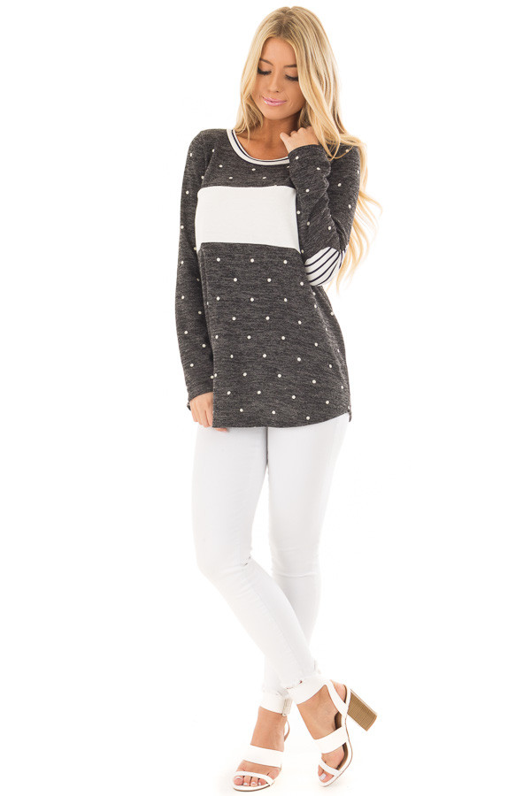 Charcoal and Ivory Polka Dot Top with Striped Contrast front full body