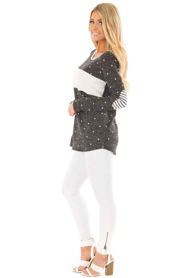 Charcoal and Ivory Polka Dot Top with Striped Contrast side full body